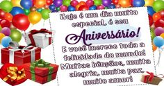 Hoje é um dia muito especial, é seu aniversário! E você merece toda a felicidade do mundo! Muitas bênçãos, muita alegria, muita paz, muito amor! Congratulations, Place Cards, Place Card Holders, Gifs, Facebook, Happy Birthday Pictures, Happy Birthday Photos, Beautiful Flowers, Cute Pictures