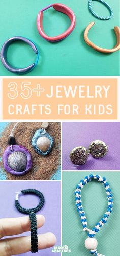 Make jewelry from anything - these cool jewelry making projects and tutorials for kids and beginners include kids of all ages - toddler through teen! Cheap Jewelry, Jewelry Crafts, Diy Fashion Accessories, Kid Stuff, Craft Projects, Crafts For Kids, Beaded Necklace, Jewelry Making, Teen