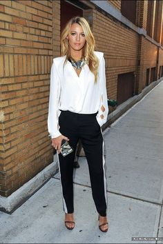Blake Lively in a black and white outfit