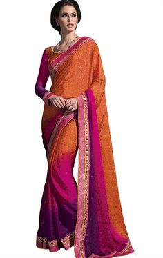 Picture of Admirable Orange and Pink Latest Fashionable Saree
