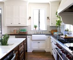 Classic kitchen, french windows.
