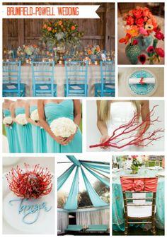 Poppy Red and Tiffany Blue Wedding Mood Board