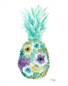 Watercolor Flower Pineapple 11x14 Original by GrowCreativeShop