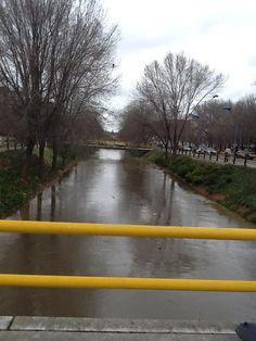 #Valladolid La Esgueva a punto de desbordarse en Jueves Santo.