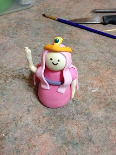 """My fondant """"Princess Bubblegum"""" I made for my daughters bday"""