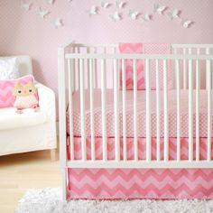 New Arrivals Inc. Chevron Zig Zag Baby Pink Sugar Crib Bedding Set available at TinyTotties.com
