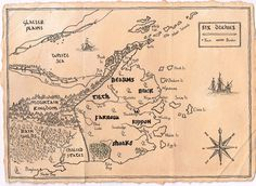 A map of the Six Duchies, from the Farseer Trilogy by Robin Hobb. It's lovely!