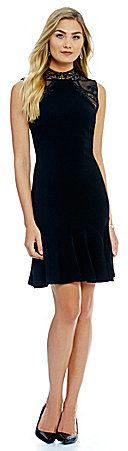 Ivanka Trump Lace Neck And Shoulder Scuba Crepe A-Line Dress - ShopStyle Day