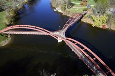 The Tridge - Michigan's Three Way Bridge  No motor vehicles cross the bridge – it was built for people to cross on foot over the confluence of the Tittabawassee and the Chippewa rivers near the town of Midland.