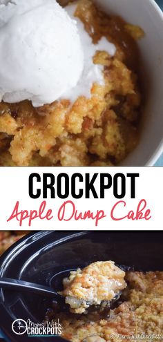 Crockpot Apple Dump Cake Recipe - Everyday deserves a good dessert! This one is so easy and amazing! Try this Crockpot Apple Dump Cake Recipe with gluten free and dairy free options. Slow Cooker Desserts, Crockpot Deserts, Crockpot Dessert Recipes, Dump Cake Recipes, Apple Recipes, Crockpot Ideas, Free Recipes, Cooker Recipes, Dinner Recipes