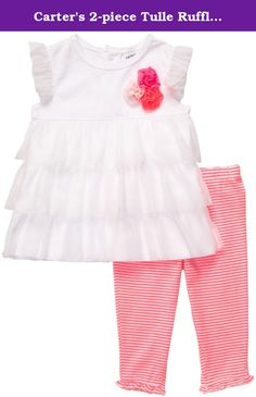 Carter's 2-piece Tulle Ruffle Sleeveless Top & Legging Set (NB-24M) (6 Months). Carters 2-Piece Ruffle Set - Neon Stripe Carter's is the leading brand of children's clothing, gifts and accessories in America, selling more than 10 products for every child born in the U.S. The designs are based on a heritage of quality and innovation that has earned them the trust of generations of families. .