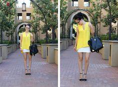 blogger @Thorunn Ivarsdottir of Double Pizzazz in a yellow #EightSixty tank!