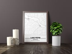 Excited to share the latest addition to my #etsy shop: Lake Pepin map print, Minimalistic wall art poster, United Kingdom gifts, Birthday Gift, For father, Father