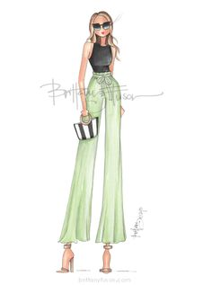 Brittany Fuson: Summer Sunday | wide leg pants | culottes | what to wear in the summer | casual outfit inspiration | fashion illustration