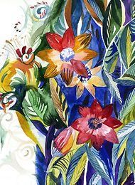 Joyful tropical flowers. Watercolor painting. Hand made greeting cards by INGA DESIGN. Birthday/Christmas  #birthday #Christmas #NewYear