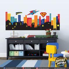 Batman City, Superhero City, Superhero Room, Superman, Nursery Wall Decals, Vinyl Wall Decals, Wall Stickers, Wall Murals, Childrens Room Decor