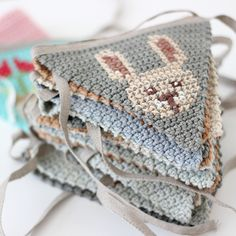 The Fox in the Attic - Animal cushions, decorations & bunting Knitted Bunting, Crochet Garland, Crochet Decoration, Crochet Quilt, Crochet Cross, Crochet Home, Crochet Motif, Diy Crochet, Crochet Patterns
