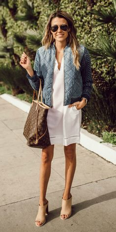 Christine Andrew + sleek + casual + glamorous + utterly lovely shirt dress outfit + summer hues of blue and white + V neck dress + bomber jacket + Christine's edgy touch + classic spring/summer look   Dress/Jacket: Bella Dahl, Bag: Louis Vuitton.