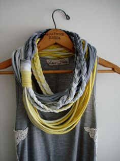 A friends Creation! --String Theory... Multi string infinity scarf in sunshine and storm w/ braids. $30.00