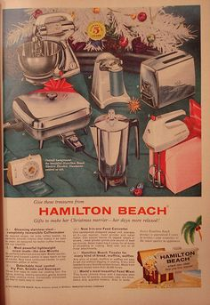 Hamilton Beach Ad-Good House Keeping December, 1959 Vintage Magazines, Vintage Ads, Vintage Posters, Christmas Ad, Vintage Christmas, Old Advertisements, Advertising, Good Ol Times, Kitchen Queen