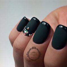 Beautiful nails 2017, Dark green french manicure, Dark green nails, Evening nails, Fashion matte nails, French manicure ideas 2017, Ideas of matte nails, Luxury nails