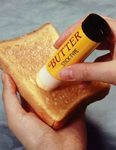 "Stick butter To fully coat your piece of toast. I love that it says ""BUTTER STICK TYPE"" on the packaging. Japanese Inventions, Weird Inventions, Marcel Duchamp, Food Design, Set Design, Provisional Patent Application, Turning Japanese, Funky Design, Expositions"