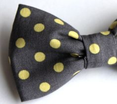Bow Tie for Men in Charcoal Gray and Yellow Polka Dot - Clip on, pre-tied adjustble strap or self tying