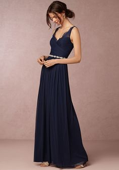 With sheer lace straps and a wrapped bodice, this tulle maxi dress is a unique option for your best gals (and one they're sure to wear again).