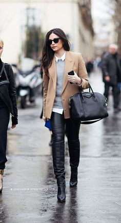 Street style, leather pants, collar over sweater and camel blazer