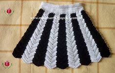 Crochet et Tricot da Mamis: Saia Infantil em Crochet com Listras Verticais…