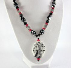 Silver and Black Pendant Necklace Modern Pendant by ramonahall, $75.00