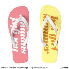 Shop Hot Girl Summer Pink Orange Yellow Flip Flops created by TheWinningGift. Summer Girls, Hot Girls, Yellow Flip Flops, Beach Flip Flops, Womens Flip Flops, Orange Yellow, Pink, Gifts, Fashion