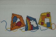 Uçurtma Desenli Havlu Cross Stitch For Kids, Crossstitch