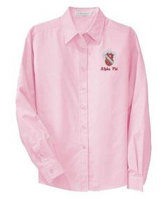 Alpha Phi Pink Button Down Alpha Xi Delta, Custom Greek Apparel, Greek Clothing, Shirt Dress, Boutique, Mens Tops, Oxford, Shirts, Clothes