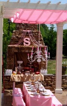I love the drapes from pergola. Dollar store idea, table cloths?...should have done this to cover my ugly porch!!!