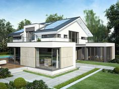 Modern architecture, living comfort and quality - the Concept-M 211 is a first-class house. The ground floor impresses with its room layout and offers Bungalow House Design, Modern House Design, Contemporary Architecture, Architecture Design, Morden House, Roof Shapes, New House Plans, Shed Plans, My Dream Home