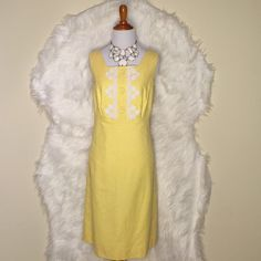 LILLY PULITZER Adelson Shift Jacquard Dress Gorgeous delicate yellow with white lace trim, fitted straight with empire waist, square neckline, invisible back zipper. Cotton jacquard, lined. Lilly Pulitzer Dresses Mini