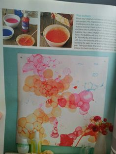 2 tblsp tempera paint, 2 tblsp dish spoon, 1/2 cup water. Mix together in a bowl. Blow bubbles in bowl with a straw. Lay paper on bubbles to make a print!