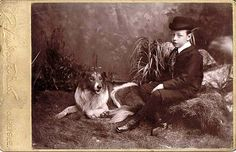 Vintage photo of a young lad and his Collie.