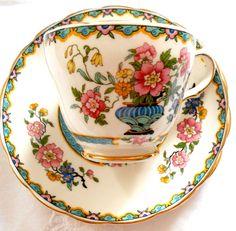 Grosvenor China England Wu Ting Tea cup saucer plate trio gold gilt vgc Art Deco