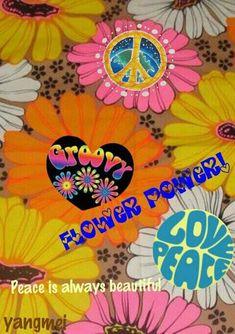 ➳➳➳☮American Hippie Art - Peace and Flower Power Design Wallpaper