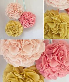 Fabric Poms... so much more chic/durable than flemsy tissue paper.