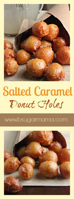 Homemade Doughnut Holes covered with a Salted Caramel Glaze. Cakepops, Donut Recipes, Cooking Recipes, Bread Recipes, Cake Recipes, Delicious Desserts, Yummy Food, Tasty, Breakfast Recipes
