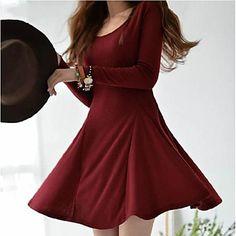 vestido de manga larga delgado color sólido de las mujeres - USD $ 20.39