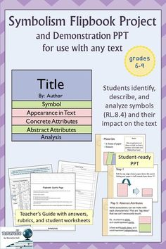 Do you need a hands-on activity for teaching symbolism? This product contains step-by-step instructions for a flipbook project. This also includes a demonstration PPT to use with your students. You can easily use this project with any novel or poem. School Resources, Teacher Resources, Middle School Literature, British Literature, Secondary Teacher, Independent Reading, English Fun, Creative Teaching, Hands On Activities