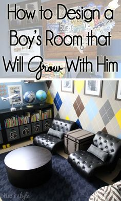 Fantastic tips for decorating a bedroom for a little boy that will grow with him from the toddler years all the way through the teen years.Olson Love the seating area for him to read. Big Boy Bedrooms, Kids Bedroom, Bedroom Decor, Kids Rooms, Little Boy Bedroom Ideas, Teen Boy Rooms, Toddler Rooms, Bedroom Chair, Teen Boys