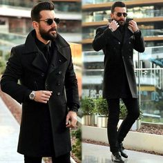 Mens Fashion Hipster – The World of Mens Fashion Mens Style Guide, Men Style Tips, Indian Men Fashion, Mens Fashion, Black Coat Outfit, All Black Looks, Mein Style, Herren Outfit, Style Casual