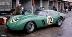 The Ferrari 250 GTO of David Piper at the 1000 Kms 1964. Very unusual for a GTO beside the distinctive color: the chopped top and the covers of the headlights