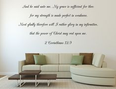 2 Corinthians 12:9 My Grace Is Sufficient For Thee Christian Living Room Wall Decal Christian Wall Art, Christian Living, Bible Verse Wall Art, Life Quotes To Live By, Letter Wall, Wall Quotes, Vinyl Wall Decals, Wall Signs, Price Quote