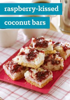 Raspberry-Kissed Coconut Bars – Shortbread cookies are your ticket to these delectably delicious, super-easy coconut treats. Plus, the sweet flavor combination is sure to be a hit this fall!